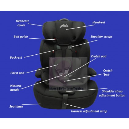 Aldo High Back Toddler Booster Car Seat with Harness (9-36kg)- Red/ Black