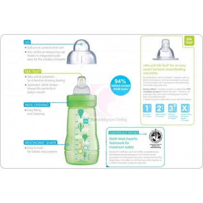 MAM Baby Feeding Bottle 270ml - Twin Pack (Blue / Pink)